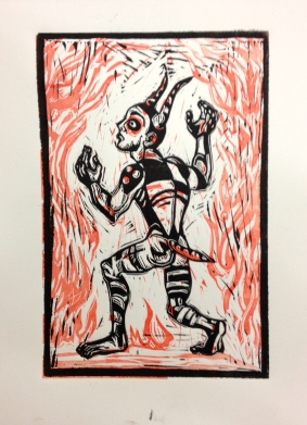 Loki, 2014, relief print on paper, 8.5 by 11""