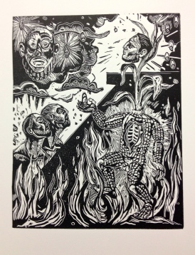 Resurrection of the Father, 2013, relief print on paper, 12by 15""