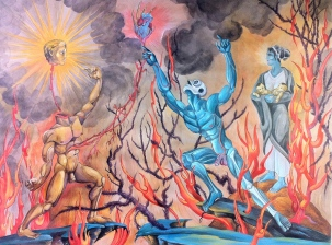 Resurrection of the Father 2013 watercolor on paper 18 by 24""
