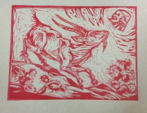 Scapegoat, 2014, relief print on paper, 8 by 10""