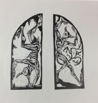 Xibalba's Gate, 2013, relief print on paper , 12 by 14""