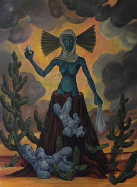 Tlazoltéotl, a difficult birth, 2014, oil on Masonite, 18 by 24""