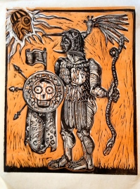 "The Great War God, Huitzilopochtli, 2014, relief print on paper, 9 by 12"" , artist's proof"