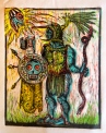 "The Great War God, Huitzilopchtli, 2014, relief print on paper, 9 by 12"" , artist's proof"