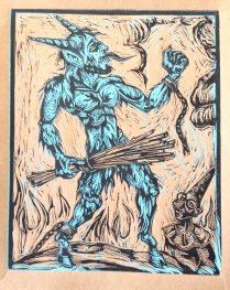 Blue Krampus!II, 2014, relief print on paper, 9 by 12""