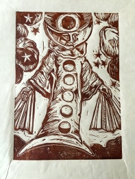 Mater eius Luna(His Mother Moon),) 2015, relief print on paper, 9 by 12""