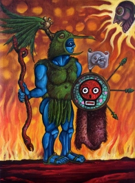 The Great War God Huitzilopochtli 2015 oil on canvas 8 by 12""