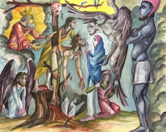Descent from the Cross, 2015, watercolor on paper, 11 by 14