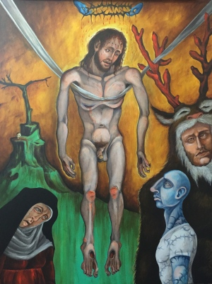 Descent from the Cross II, 2015, acrylic on canvas, 30 by 40""