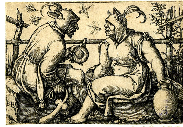 Sebald Beham, A Couple of Fools, 1540s, engraving, 3.6 x 5.2 cm, The British Museum,