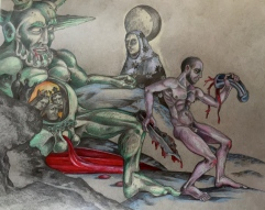Castration of Uranus, 2015, watercolor on paper, 11 by 14""