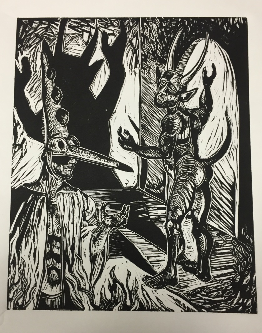 The Proposition 2015 relief print on paper , image size 8 by10""