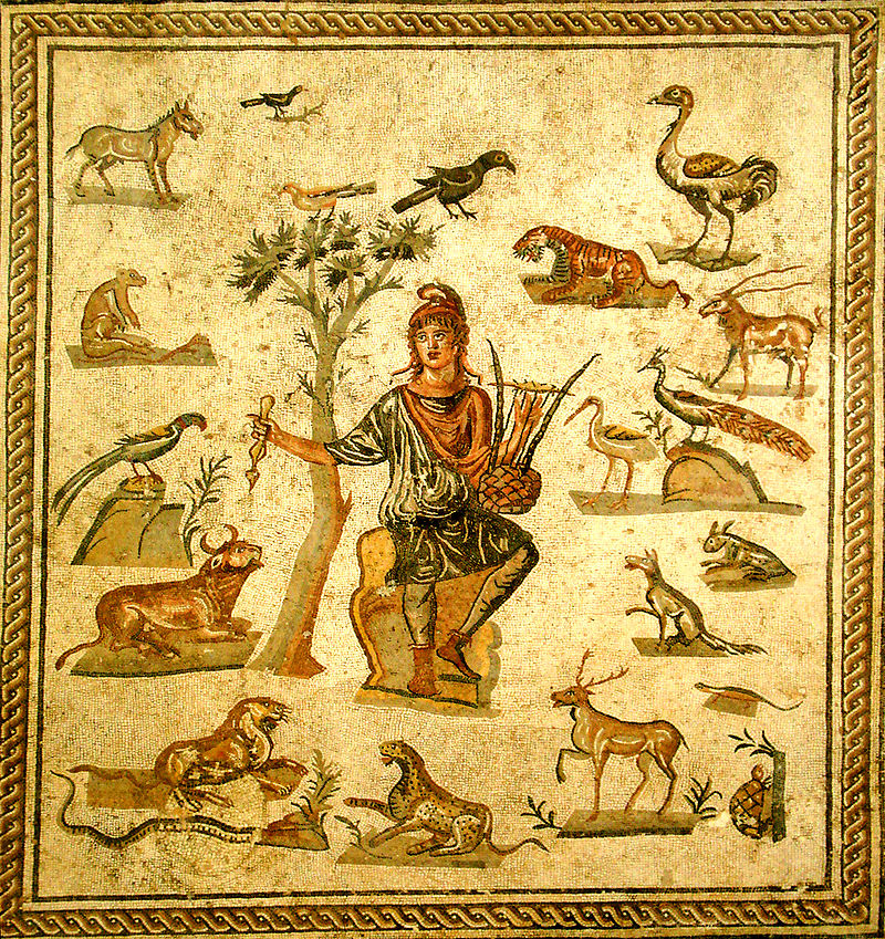 Roman mosaic depicting Orpheus Phrygian surrounded by the beasts charmed by the music of his lyre