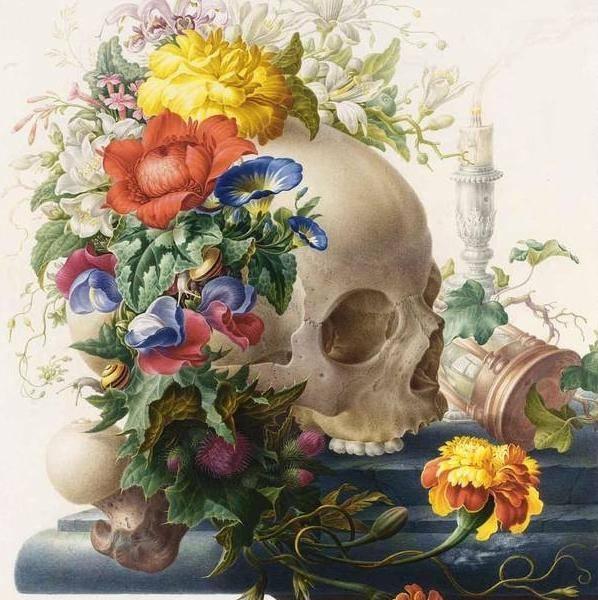 skull w flora
