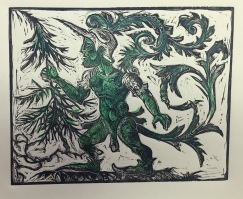 The Green Knight 2015 relief print on paper, image size 8 by10""