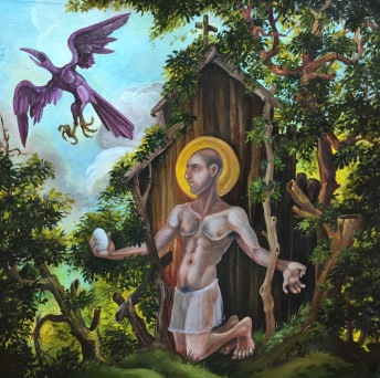St. Kevin and the Blackbird 2016 oil on panel 12 by 12""