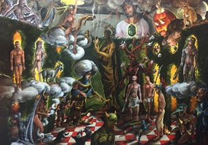 Seizing Sanctimonium 2016, oil on canvas, 40 by 56""