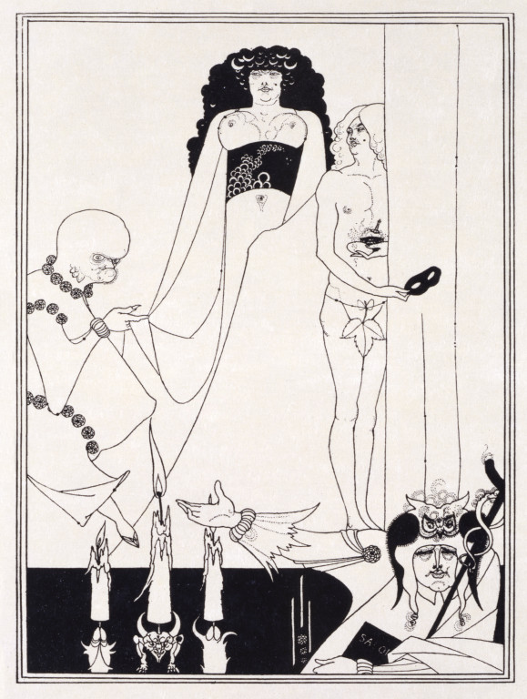 E.430-1972 Salome, Plate IX- Enter Herodias from a portfolio of 17 plates; by Aubrey Beardsley (1872-98); published by John Lane; English; 1907. Line block print.
