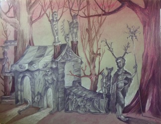 Cernunnos and his Lair, 2016, 18 by 24""