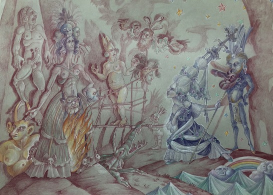 The Rape of Tenochtitlan, 2016, colored pencil on paper, 18 by 24""