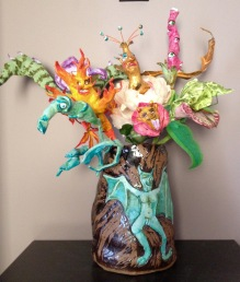 "Seven Deadly Sins, 2013, fired clay and painted modeling compound, approx. 24"" tall"