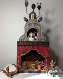 "Daisy's Reliquary, 2013, mixed media including painted wood and modeling compound, about 19"" tall"