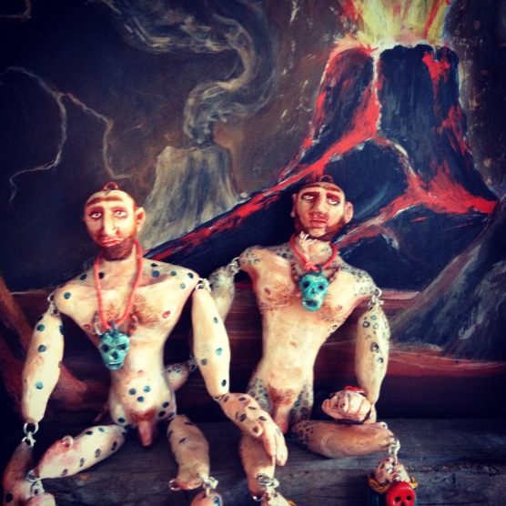 "Hero Twin Marionettes, 2015, painted modeling compound, about 12"" tall"