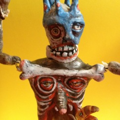 "Huitzilipochtli Marionette, 2016, painted modeling compound, about 9"" tall"
