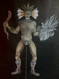 Jumping Tlaloc, 2015, painted cardboard, brads and string, 36 by 48""