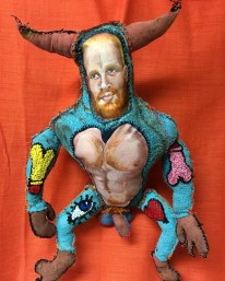 Adam the Minotaur, 2016, painted rag and canvas, thread, poly-fill. Approx. 15 by 24""