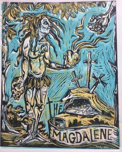 The Magdalene, 2017, three plate relief print on paper, series of five