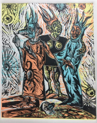 The Sisters Wyrd 2017 Relief print (four plates) on paper