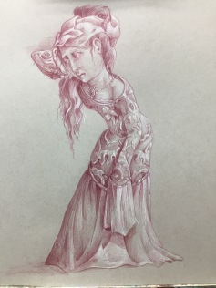 """The Magdalene"", study 2017 Sanguine and white pencil on toned paper Approx. 15 by 18 inches Private collection"