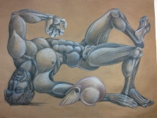 """Patroclus"" 2014 colored pencil on paper 18 by 24 inches"
