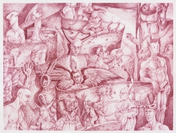 """The Temptation of St.Anthony of the Desert at the Baths of St.Mark"" 2016 sanguine pencil on paper 18 by 24 inches"