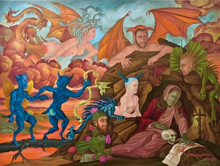 """The Temptation of St. Anthony of the Desert I"" 2013 oil on canvas 36 by 48 inches"