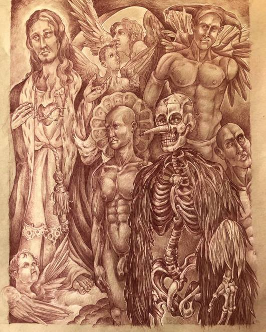 The Harrowing of Hell 2018 Sanguine pencil, white charcoal, toned paper 24 by 18 inches