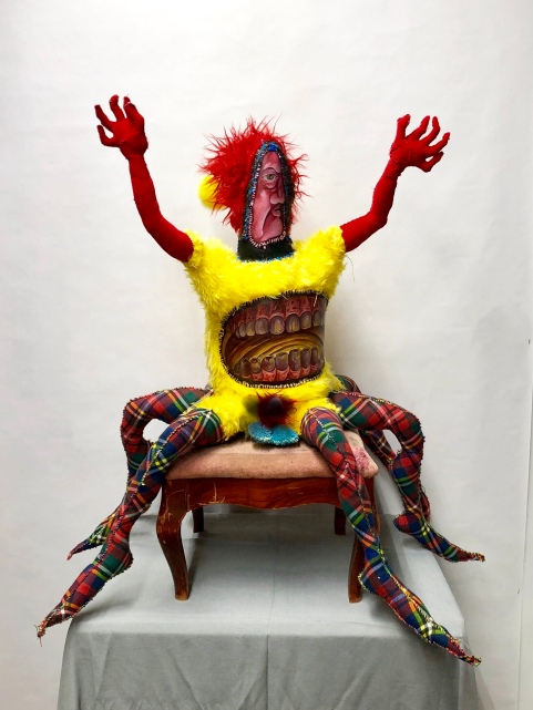 Pluton, Prince of Fire, Governor of the Region in Flames 2018 Mixed media:recycled fiber, acrylic paint, embroidery floss, poly-fil 33 by 24 by 24 (approx.) inches