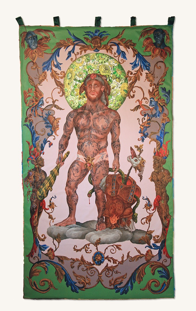 The Herakles Tapestry 2018 Canvas on unbound canvas, embroidery floss 99 by 55 inches