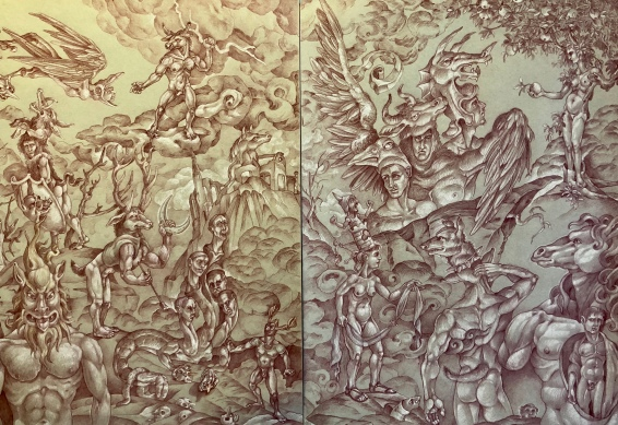 The Labors of Herakles 2019 Sanguine with white charcoal highlights, on toned paper Diptych, total 24 by 36 inches