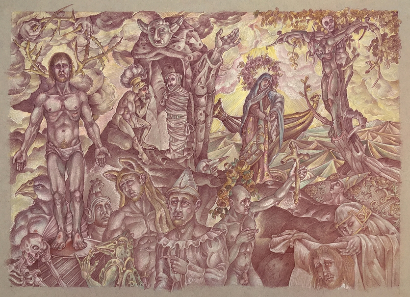The Way of the Cross 2019 Sanguine and colored pencil on toned paper 18 by 24 inches